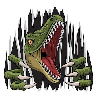 Cartoon raptor mascotte rippen