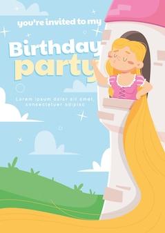 Cartoon rapunzel verjaardag uitnodiging sjabloon