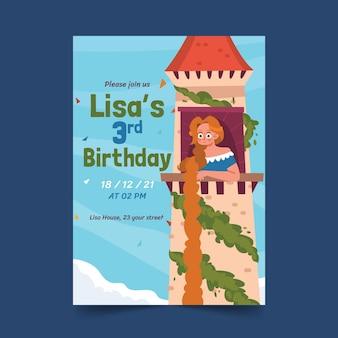 Cartoon rapunzel verjaardagsuitnodiging