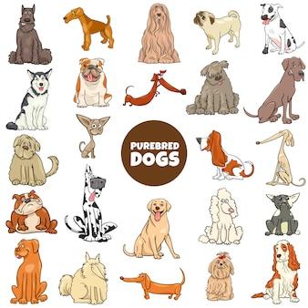 Cartoon rasechte honden tekens grote set