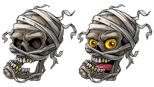 Cartoon realistische enge mummie schedels vector set