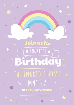 Cartoon regenboog verjaardagsuitnodiging