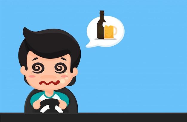 Cartoon reizen van dronken mensen, slaperig, gebruik de telefoon tijdens het rijden