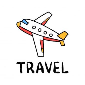Cartoon reizen vliegtuig doodle belettering voor decoratie ontwerp. vliegend vliegtuig, transport.