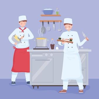 Cartoon restaurant chef-koks bereiden van maaltijd en desserts