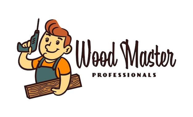 Cartoon retro lachende vriendelijke carpenter character mascot logo