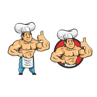 Cartoon retro vintage bodybuilder chef-kok karakter mascotte logo. chef-kok spier logo.