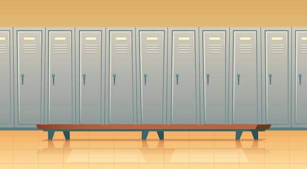Cartoon rij met individuele kluisjes of kleedkamer voor voetbal, basketbalteam of werknemers.