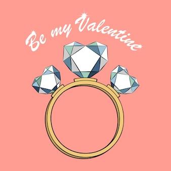 Cartoon ring met diamanten hartjes