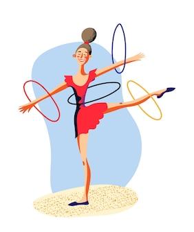 Cartoon ritmische vrouwelijke gymnastiek karakter met hoepels geïsoleerd op wit circus show performance