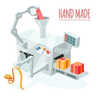Cartoon robotachtige productie van geschenkdozen. verpakken en inpakken, automatisering en handgemaakt