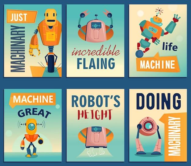 Cartoon robots flyers set. machines, cyborgs, elektronische assistenten flyer-sjabloon