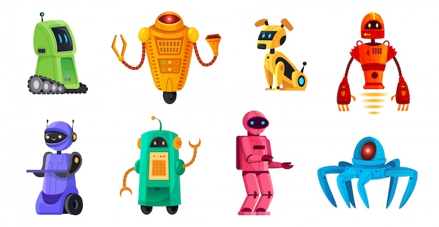 Cartoon robots. robotica-bots, robothuisdier en robotachtige android bot-karakters technologie illustratie set