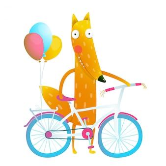 Cartoon rode grappige vos met fiets en ballonnen