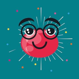 Cartoon rode neus met een bril