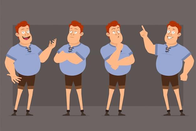 Cartoon roodharige dikke jongen vector tekenset