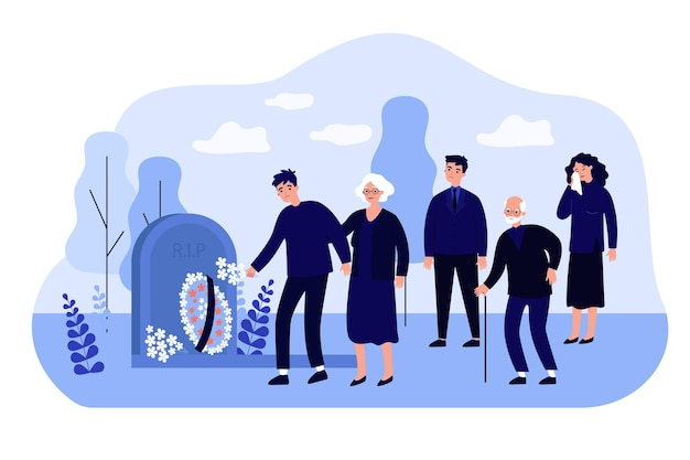 Cartoon rouwende mensen op kerkhof vlakke afbeelding