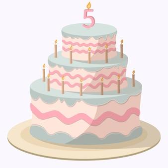Cartoon roze-blauwe cake met kaarsen en witte mastiek, crèmekleurige decoraties en snoepkralen.