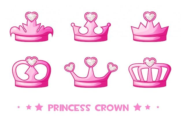 Cartoon roze kroon de prinses, set pictogrammen. leuke vectorillustratie voor meisjes