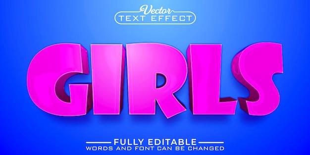 Cartoon roze meisjes bewerkbare teksteffectsjabloon