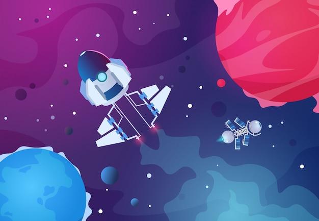 Cartoon ruimte. alien planeten ruimteschip asteroïde aarde planeet sterren raket. toekomstige kosmos achtergrond