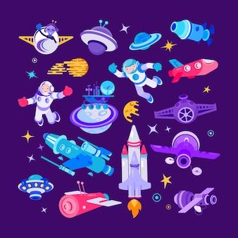 Cartoon ruimte en ruimteschip illustraties, ruimtevaarder met met shuttle, raket set