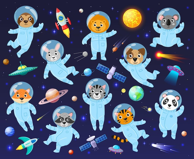 Cartoon ruimtekosmonaut dieren, schattige dieren astronauten. galaxy ruimte dieren koala, wasbeer, leo en luiaard vector illustratie set. dieren astronauten vliegen in de open ruimte