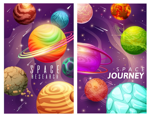 Cartoon ruimteplaneten en sterren, melkwegreis en onderzoeksvectorposters. universumverkenning, avontuur in de kosmos, fantastische interstellaire reizen, grafisch ontwerp van kosmische expeditiekaarten
