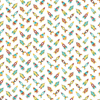 Cartoon ruimteschip pictogrammen naadloze patroon