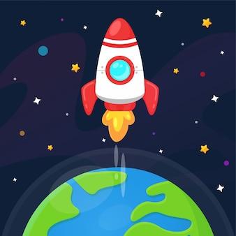 Cartoon ruimteschip uitgeworpen naar de aarde met astronauten om de sterren in het universum te verkennen.