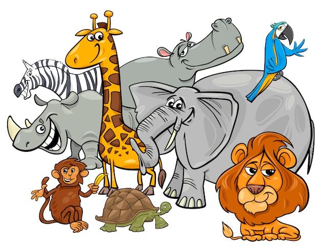 Cartoon safari dierlijke karakters groep