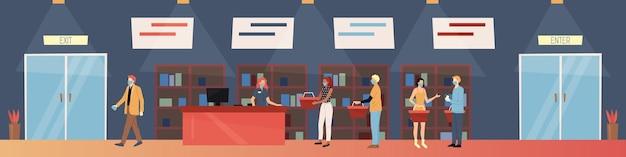 Cartoon samenstelling in kleurrijke vlakke stijl van winkel of supermarkt vol met mensen in maskers.