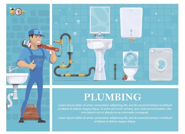 Cartoon sanitair samenstelling met loodgieter in uniform houden moersleutel wasmachine spiegel verwarming boiler toilet wastafel gereedschapskist riolering