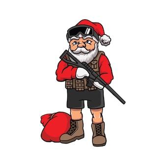 Cartoon santa claus in militair materieel