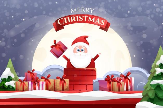 Cartoon santa claus met geschenken naar de schat