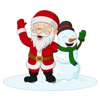Cartoon santa claus met sneeuwpop handen zwaaien