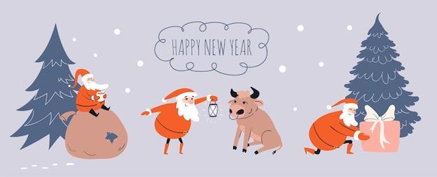 Cartoon santa claus ontmoet stier en geeft geschenken