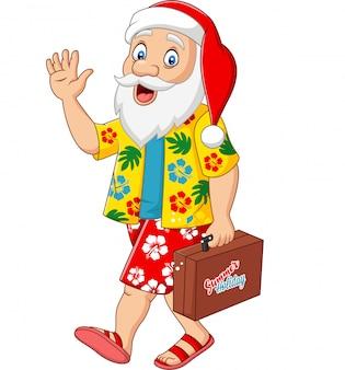 Cartoon santa claus op vakantie met een koffer