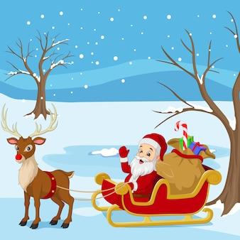 Cartoon santa claus rijdt in een slee met een zak cadeaus met rendieren