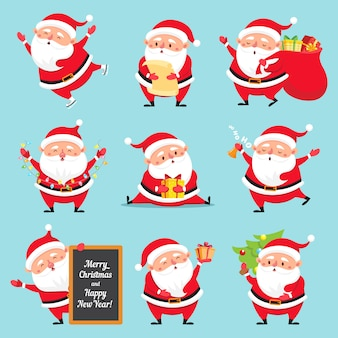 Cartoon santa claus set