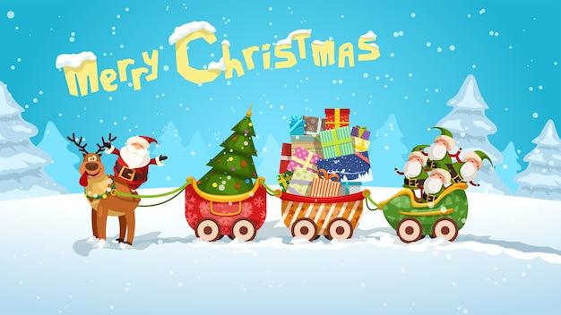 Cartoon santa claus slee vol cadeautjes in de natuur van de winter