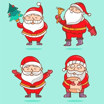 Cartoon santa claus-tekenverzameling
