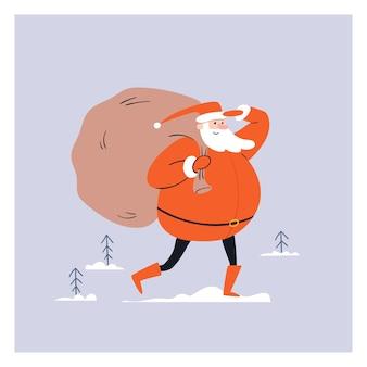 Cartoon santa loopt met een grote zak cadeaus op zijn rug