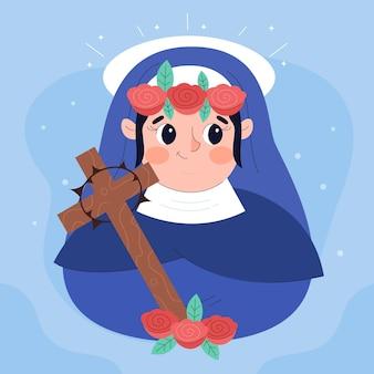 Cartoon santa rosa de lima illustratie