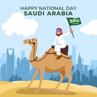 Cartoon saoedische nationale feestdag achtergrond