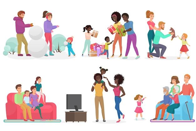 Cartoon scènes van het gezinsleven ingesteld. moeder, vader, dochter en zoon.
