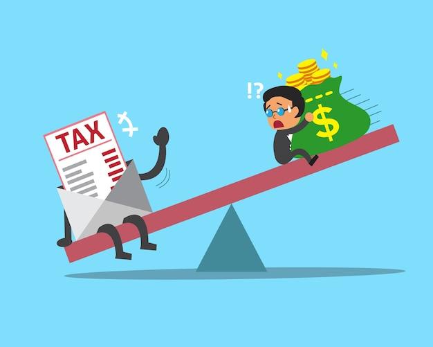 Cartoon schaal tussen zakenman en belasting