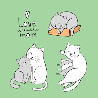 Cartoon schattig actie moeder en baby kat vector.