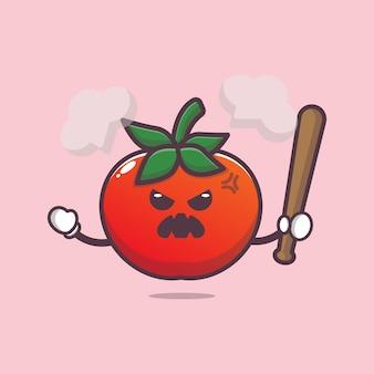 Cartoon schattig boos tomaat karakter illustratie