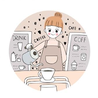 Cartoon schattig café, vrouw en koffie